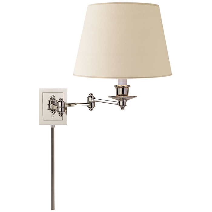 Triple Swing Arm Wall Lamp - Polished Nickel Finish with Linen Shade