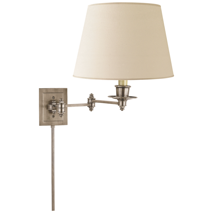 Triple Swing Arm Wall Lamp - Antique Nickel Finish with Linen Shade