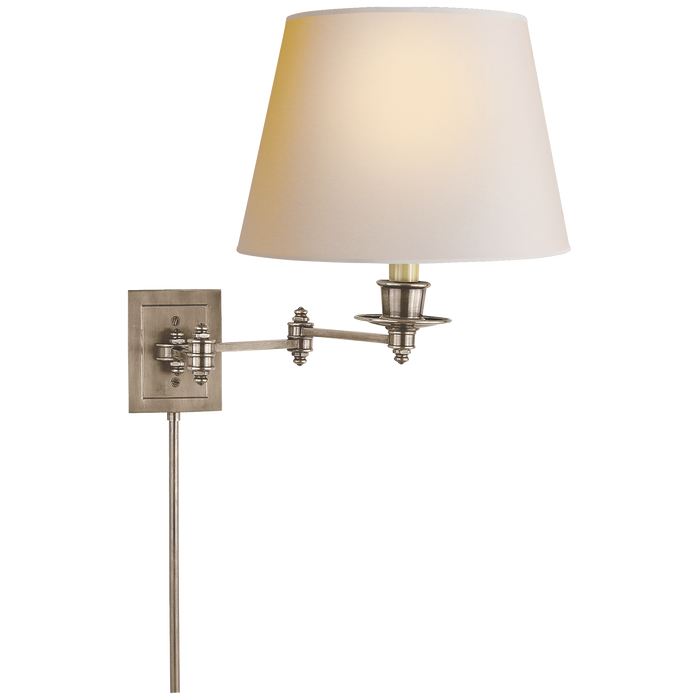 Triple Swing Arm Wall Lamp - Antique Nickel Finish with Natural Paper Shade