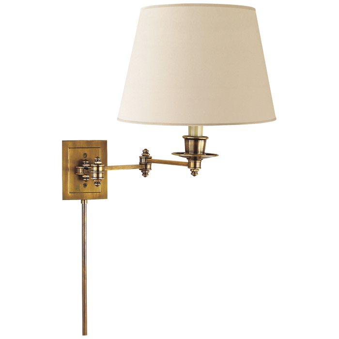 Triple Swing Arm Wall Lamp - Hand-Rubbed Antique Brass Finish with Linen Shade