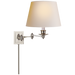 Triple Swing Arm Wall Lamp - Polished Nickel Finish with Natural Paper Shade