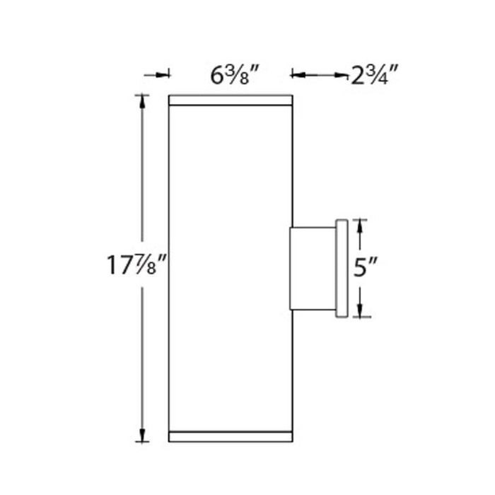 "Tube Architectural 6"" Double Wall Mount - Diagram"