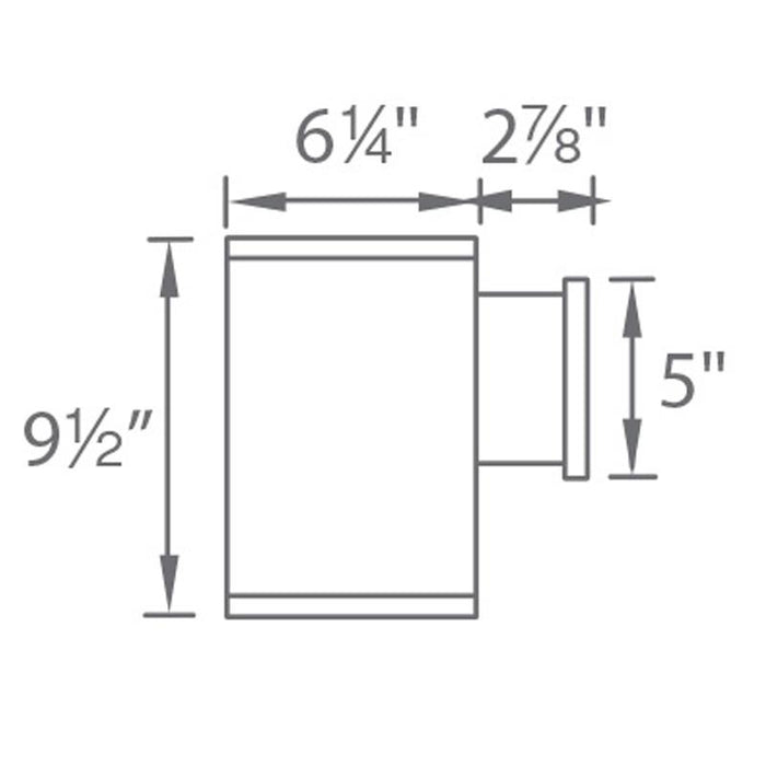 "Tube Architectural 6"" Ultra Narrow Single Wall Mount - Diagram"