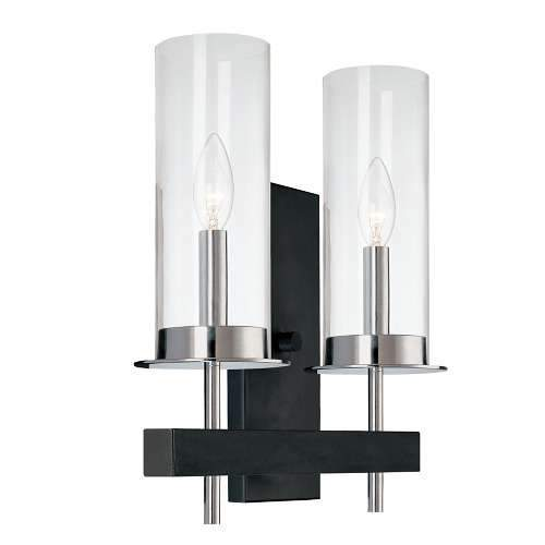 Tuxedo Double Wall Sconce - Polished Chrome/Black