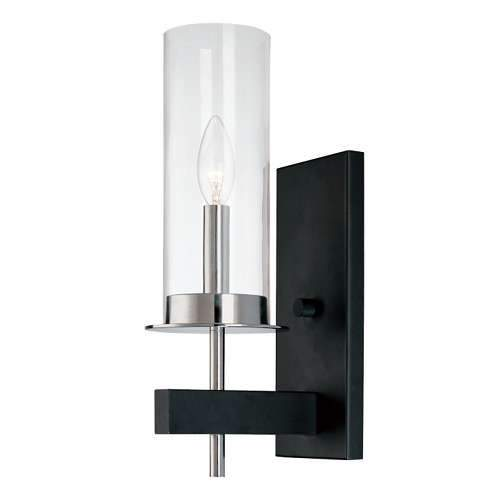 Tuxedo Wall Sconce - Polished Chrome/Black