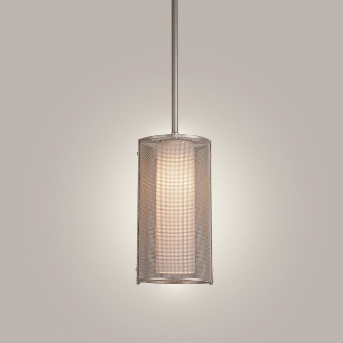 Uptown Mesh Pendant Light - Metallic Beige Silver/Frosted Glass