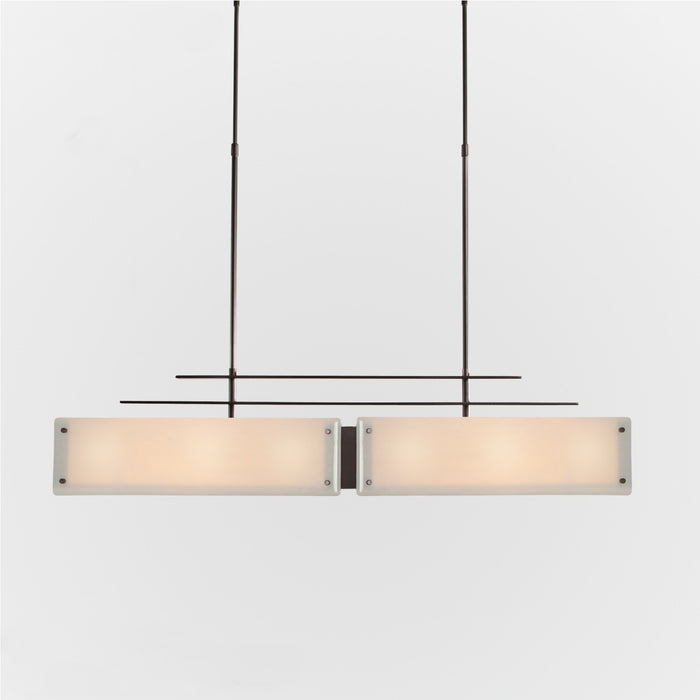 Urban Loft Parallel Linear Suspension Light - Oil Rubbed Bronze/Ivory Wisp