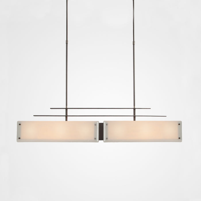 Urban Loft Parallel Linear Suspension Light - Satin Nickel/Ivory Wisp