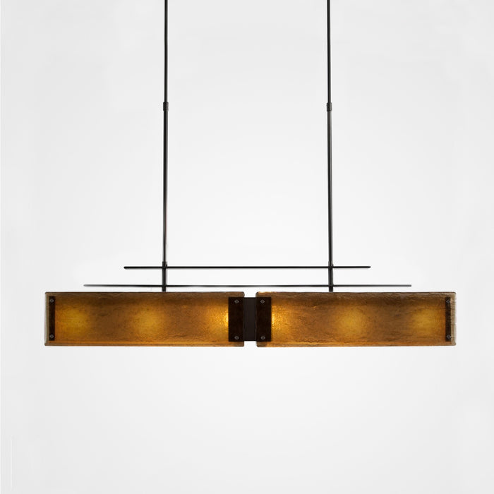 Urban Loft Parallel Linear Suspension Light - Satin Nickel/Bronze Granite