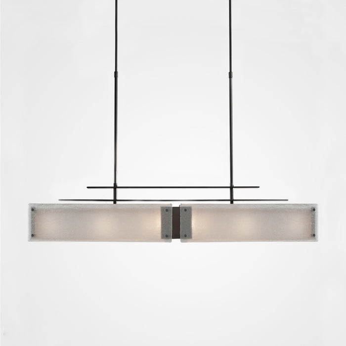 Urban Loft Parallel Linear Suspension Light - Gunmetal/Frosted Granite