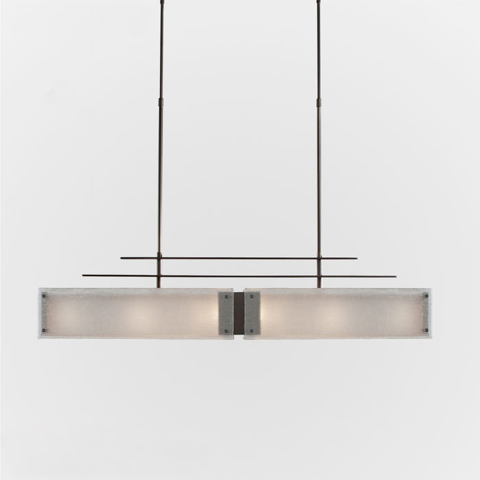 Urban Loft Parallel Linear Suspension Light - Oil Rubbed Bronze/Frosted Granite