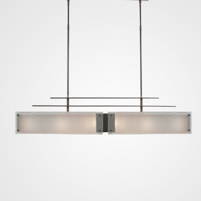 Urban Loft Parallel Linear Suspension Light - Satin Nickel/Frosted Granite
