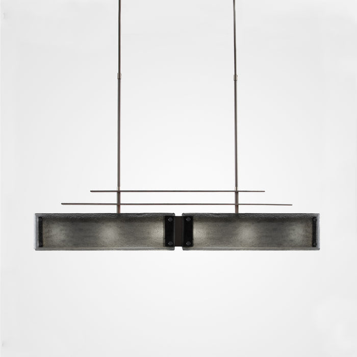 Urban Loft Parallel Linear Suspension Light - Satin Nickel/Smoke Granite