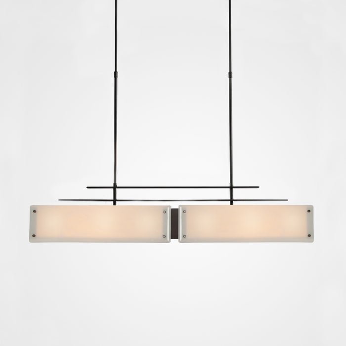 Urban Loft Parallel Linear Suspension Light - Gunmetal/Ivory Wisp