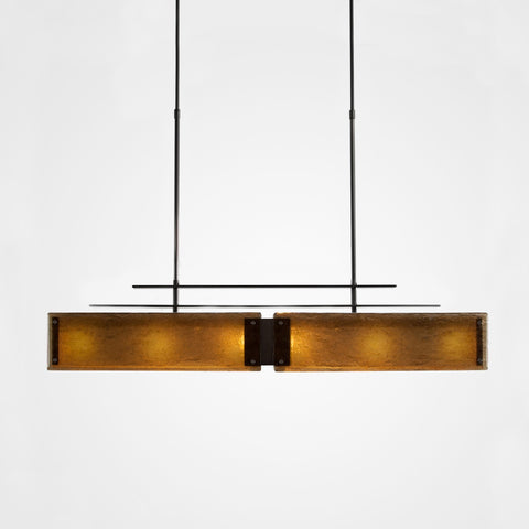 Urban Loft Parallel Linear Suspension Light - Gunmetal/Bronze Granite