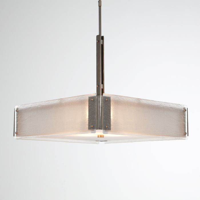 Urban Loft Square Chandelier - Satin Nickel/Frosted Granite