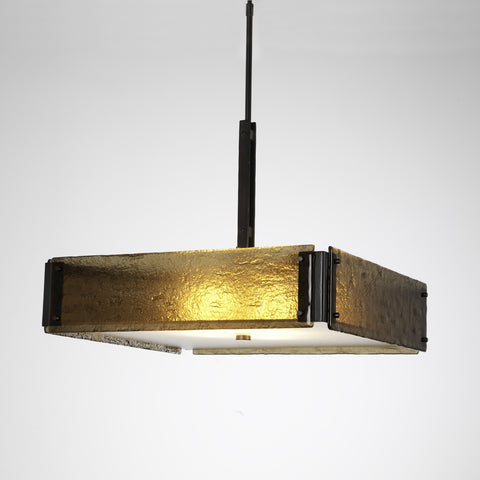Urban Loft Square Chandelier - Gunmetal/Bronze Granite