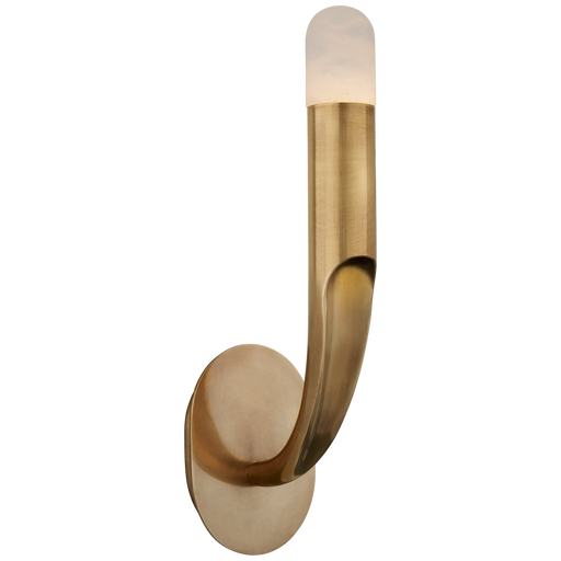Verso Single Sconce - Antique-Burnished Brass Finish with an Alabaster Shade