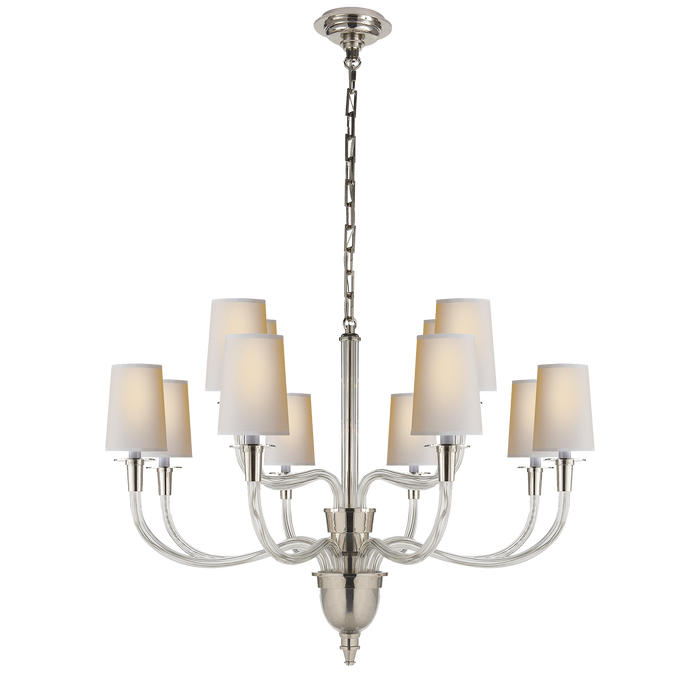 Vivian Large Two-Tier Chandelier - Polished Nickel