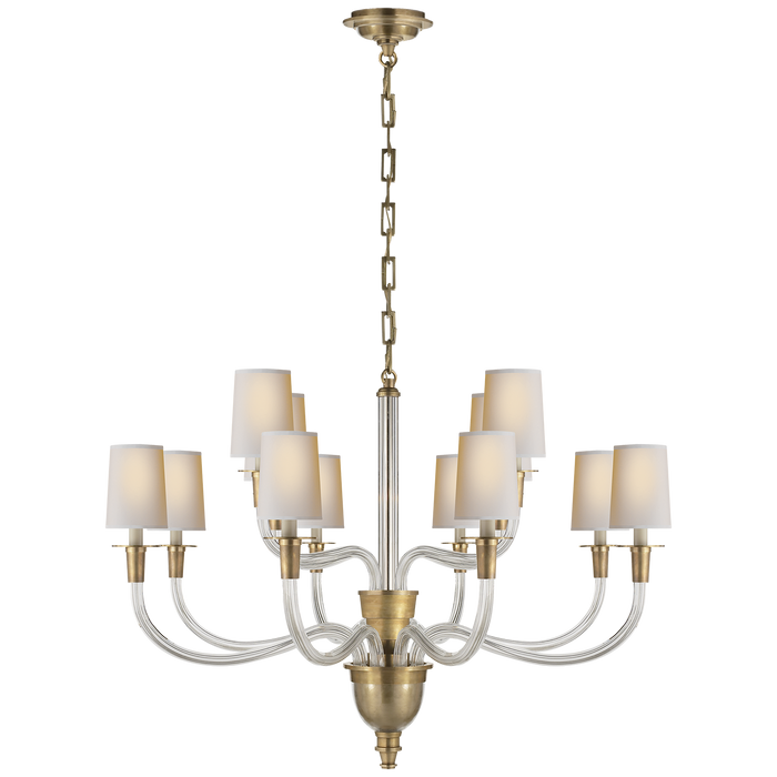 Vivian Large Two-Tier Chandelier - Hand-Rubbed Antique Brass