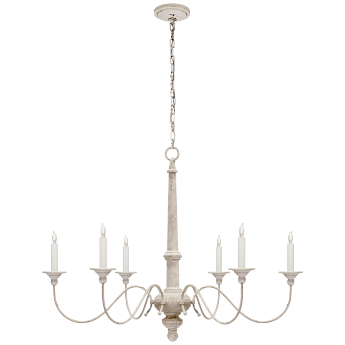 Country Small Chandelier - Belgian White Finish