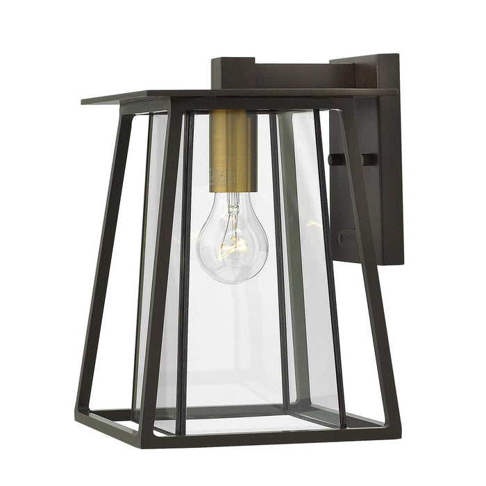 Walker Small Outdoor Wall Light - Buckeye Bronze with Heritage Brass Accents