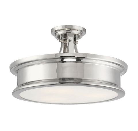 Watkins Semi-Flush Mount - Polished Nickel Finish