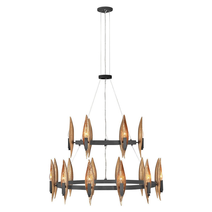 Willow Large Chandelier - Carbon Black with Deluxe Gold accents Finish