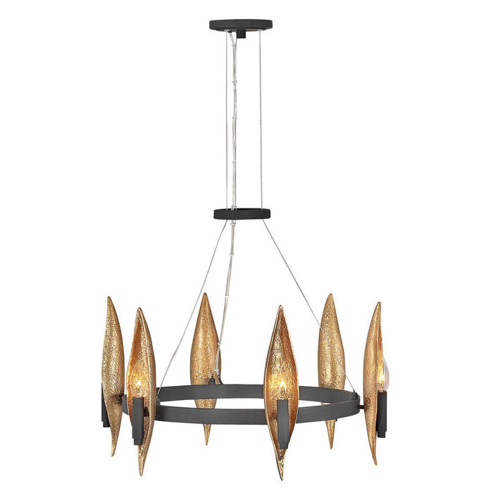 Willow Small Chandelier - Carbon Black with Deluxe Gold accents Finish