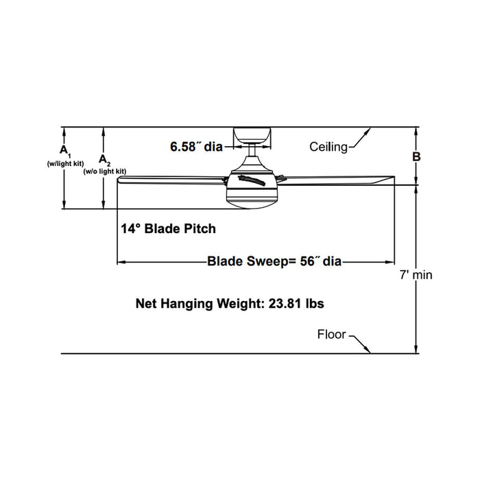 Xeno Indoor/Outdoor Ceiling Fan - Diagram