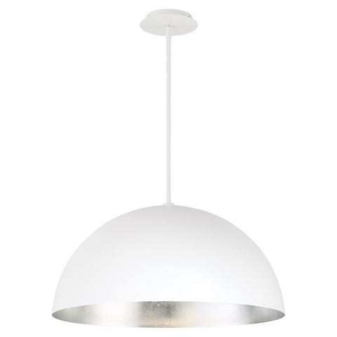 Yolo LED Pendant Light White/Silver Leaf