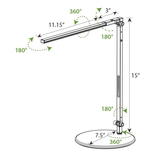 Z-Bar Solo Mini LED Desk Lamp - Diagram