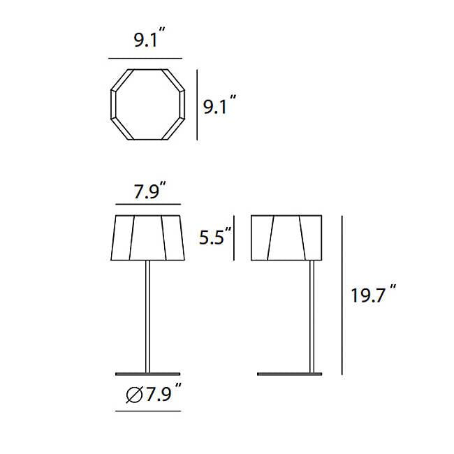 Zhe Table Lamp - Diagram