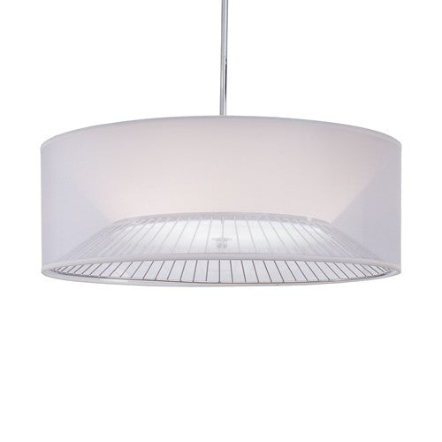 Bridge Drum Shade Pendant Light - Chrome Finish