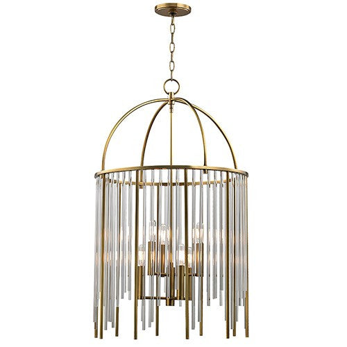 Lewis 6 Light Pendant Light - Aged Brass