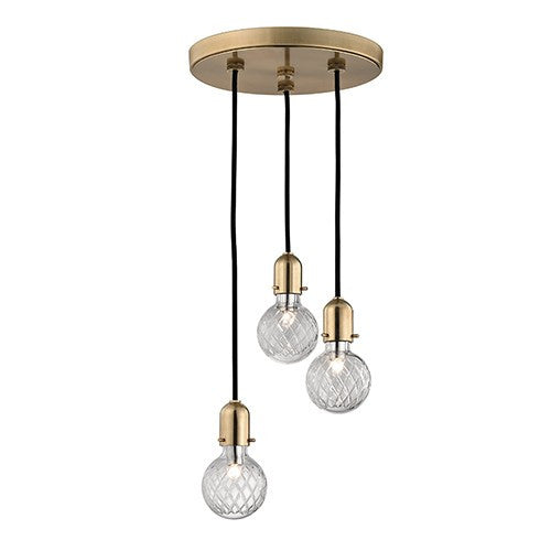 Marlow 3 Light Pendant - Aged Brass Finish