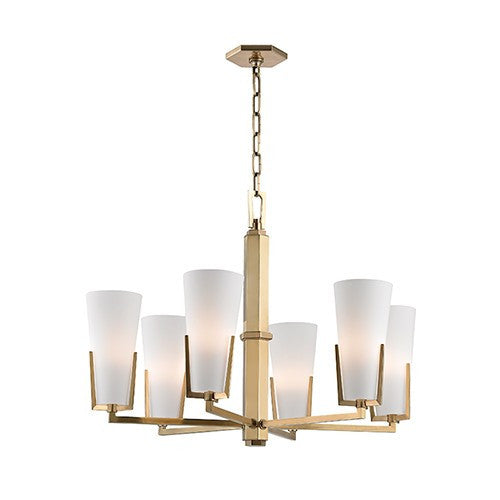Upton 6 Light Chandelier - Aged Brass