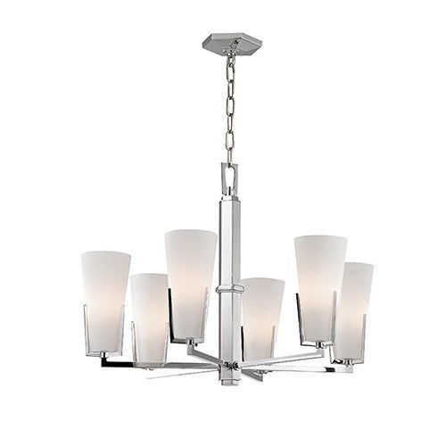 Upton 6 Light Chandelier - Polished Nickel