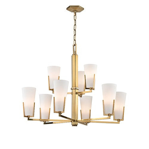 Upton 9 Light Chandelier - Aged Brass
