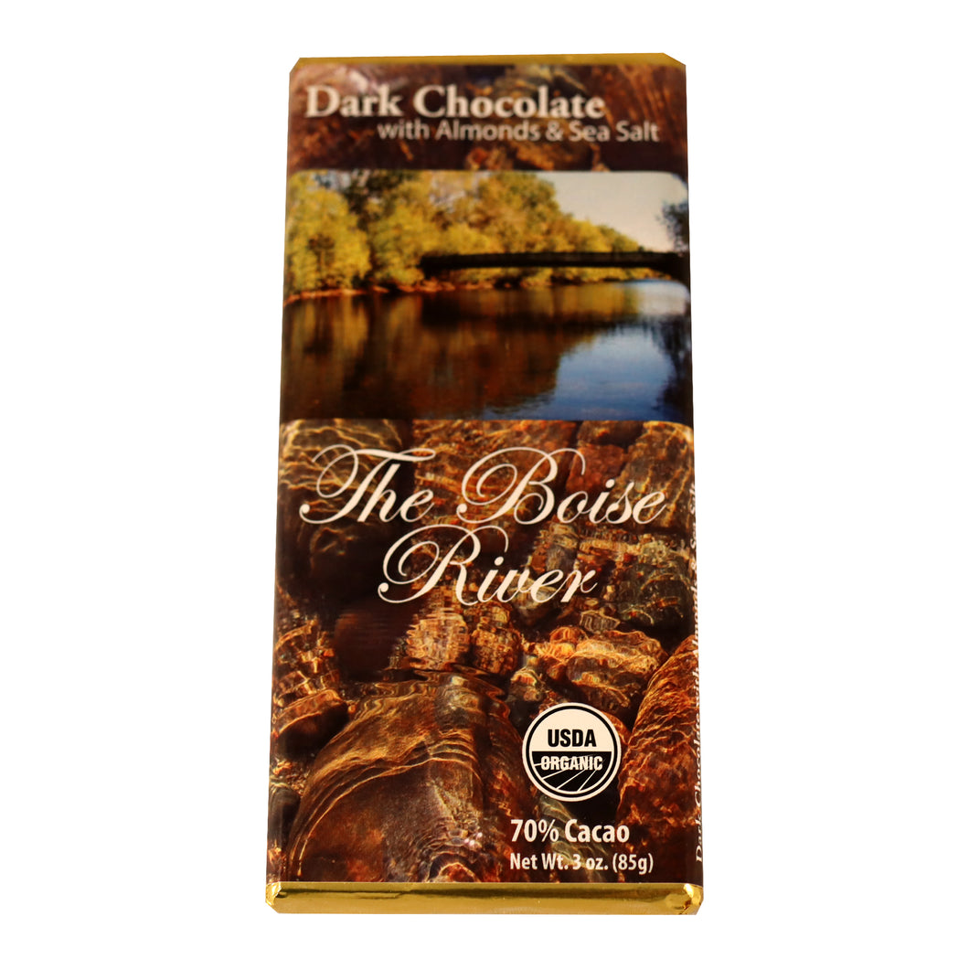 70% CACAO DARK CHOCOLATE WITH ALMONDS + SEA SALT.  THE BOISE RIVER!