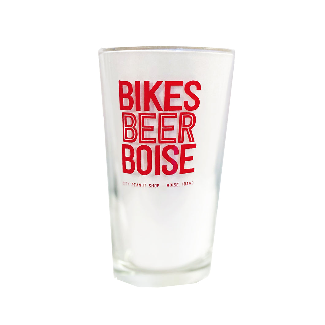 BIKES • BEER • BOISE • PINT GLASS (RED)
