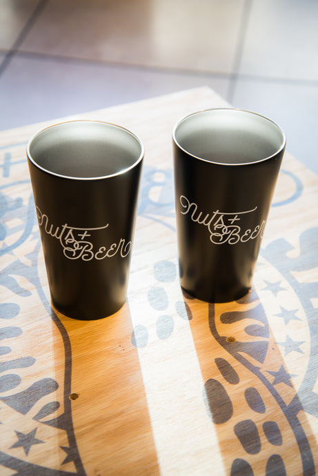 Nuts + Beer Double-Walled Metal 19oz. Pint Glass