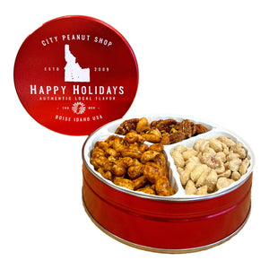 RED HAPPY HOLIDAYS TIN • SMALL