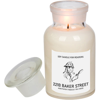 221B Baker Street 8.5 oz Apothecary Literary Soy Candle for Readers