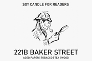 221B Baker Street 8 oz Glass Jar Literary Soy Candle for Readers
