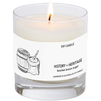 History + Heritage Soy Candle  8 oz Tumbler. Hand-sketched design label.