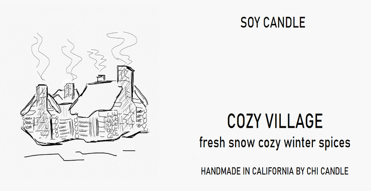 Soy Candle Cozy Village 8 oz Tumbler.  Hand-sketched