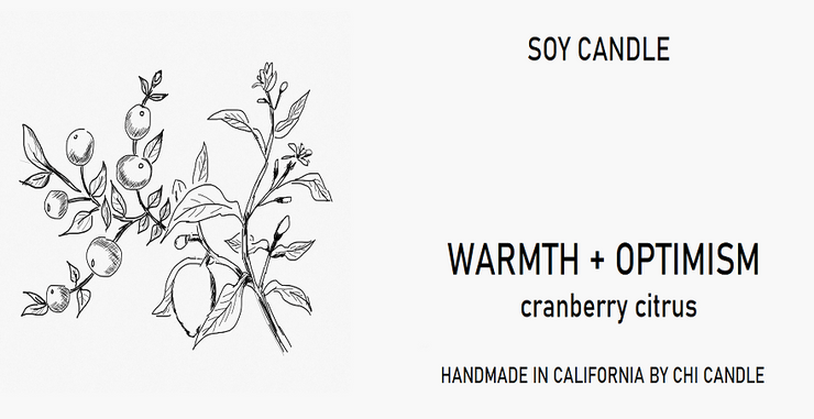 Warmth + Optimism Soy Candle 8 oz Tumbler.  Hand-sketched design label.