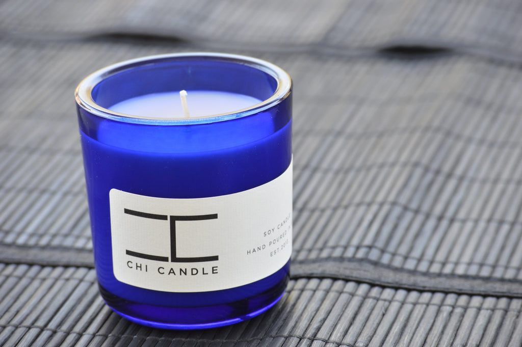 Fresh Fruit Slices 7 oz Cobalt Blue Glass Soy Candle