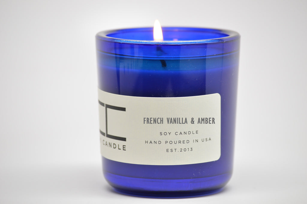 French Vanilla & Amber 7 oz Cobalt Blue Glass Soy Candle